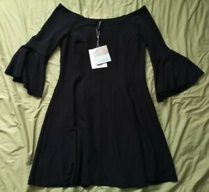Stradivarius-Women-039-s-Black-Bardot-Fit-And-Flare-Dress-Size-S-Small-New-With-Tags