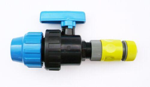 Reducir Tubo Carpintero Con en Línea Válvula de bola MDPE Compresión X Manguera de Snap-on