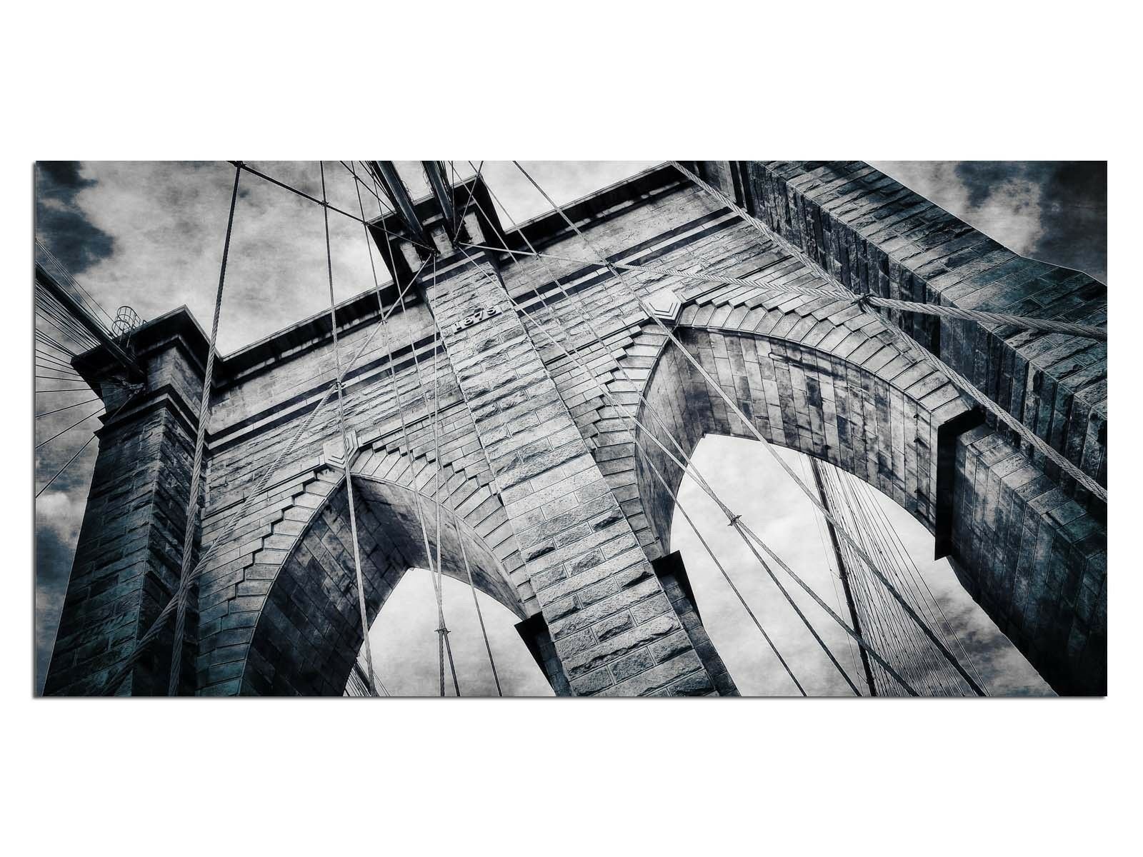 Deco Glas Bild EG4100500692 BROOKLYN BRIDGE EFFECT Größe 39,37  x 19,68  HD P