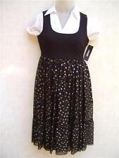 $345 DKNY Silk Metallic Pleat Dot Pullover Dress Flare Suit 8 Black White Womens