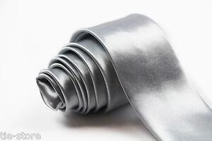 MENS-SILVER-NECK-TIE-SKINNY-THIN-PLAIN-NECKTIE-2-034-5cms-TIES-NECKTIE-WEDDING