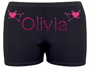 Personalised-LYCRA-Black-Dance-Gymnastic-Gym-Shorts-Glitter-Text-HEART-amp-STARS