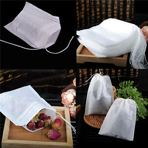 White-100pcs-Non-woven-Empty-Teabags-Filter-Paper-Herb-Loose-Tea-String-Seal-Bag