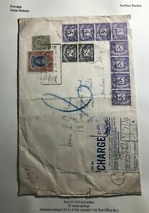 1939-India-Surface-Packet-Postage-Due-Cover-To-London-England