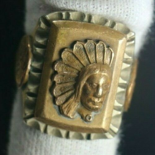Vintage Mexican Biker Indian Head Ring