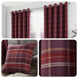 Curtina-CAMERON-Purple-Tartan-Eyelet-Ring-Curtains-Cushions-Collection