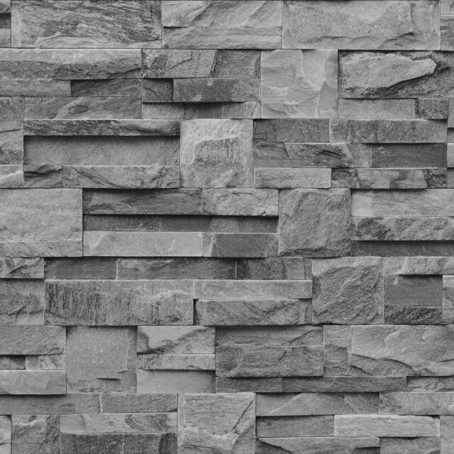 GREY SLATE BRICK STONE NATURAL TEXTURED MURIVA FEATURE DESIGNER WALLPAPER J27409