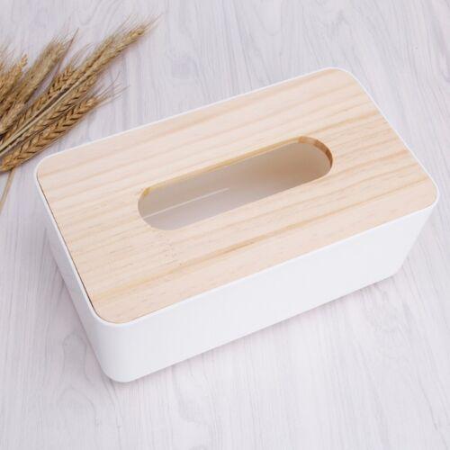 1x Wooden Cover Plastic Tissue Box Paper Holder Dispenser Organizer For Home Car