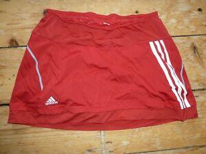 Adidas-Tennis-Jupe-Avec-Short-Rouge-Moyen-Taille-10-Three-Stripes