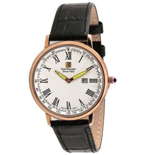 Steinhausen Classic Men's S0119 Swiss Quartz Rose Gold Black Leather Band Watch