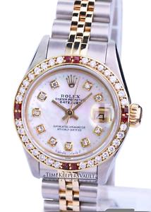 Ladies-Rolex-Datejust-26mm-White-MOP-Diamond-Dial-Diamond-Bezel-QUICKSET