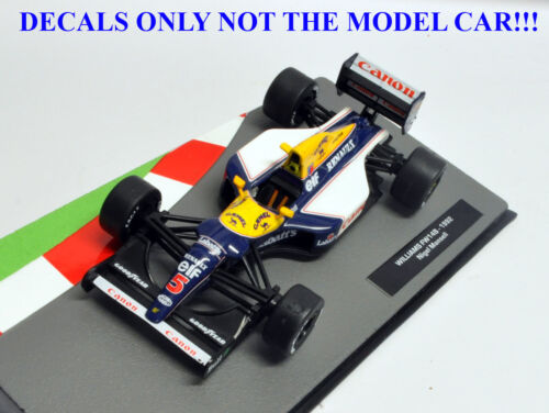 DECALS Nigel Mansell 1992 FW14B Camel /& Labatts 1:43 Formula 1 Car Collections