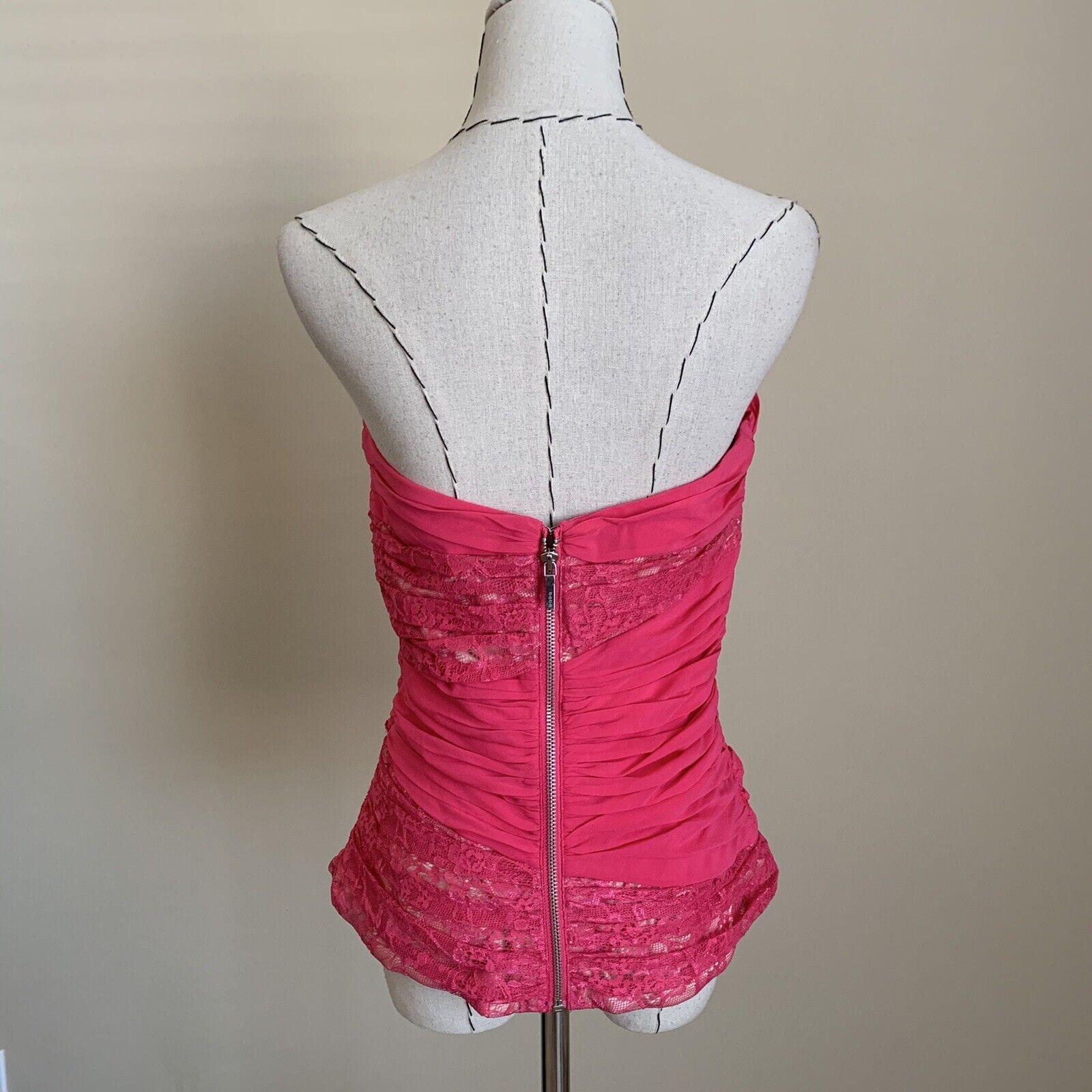 Vintage Y2K 90s BEBE Hot Pink Lace Silk Bustier C… - image 5