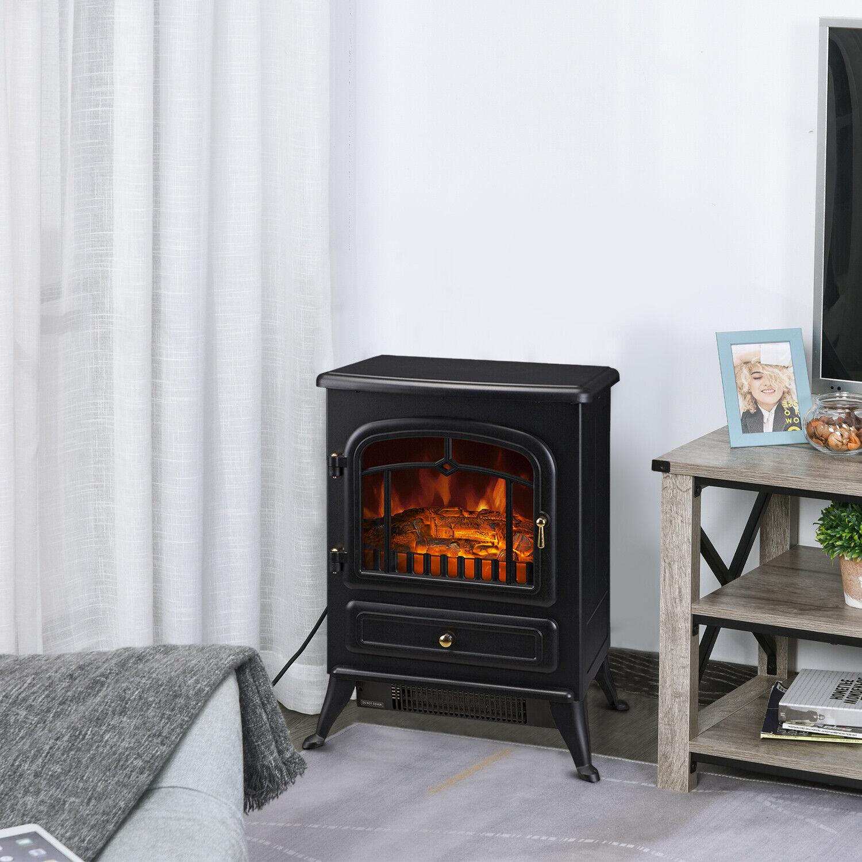 Homcom 16 In 1500 Watt Standing Electric Wood Stove Fireplace Heater For Sale Online Ebay