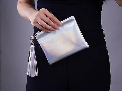 Holographic Metallic Matte Silver Hologram Leather Envelope Clutch Pouch Tassel