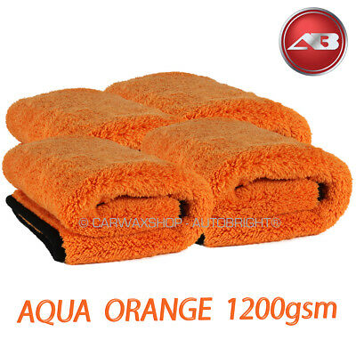 Aqua Deluxe Microfibre Drying Towel Car Detailing 4 Orange 1200gsm Autobright