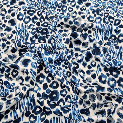 FS555 Blue Daze Leopard Print High Quality Jersey Scuba Stretch Fabric