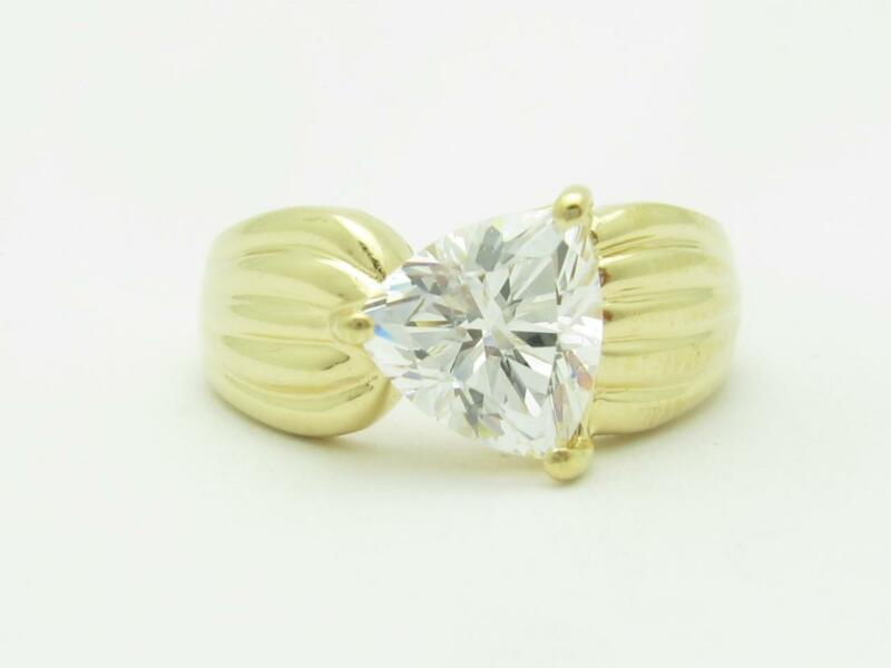 14k Yellow Gold & Trillion Cut Cubic Zirconia Wide Design Band Ring Bridal Gift