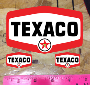 """5/"""" TEXACO SHIELD GASOLINE DECALS GAS AND OIL STICKER Vintage 3 for 1"""