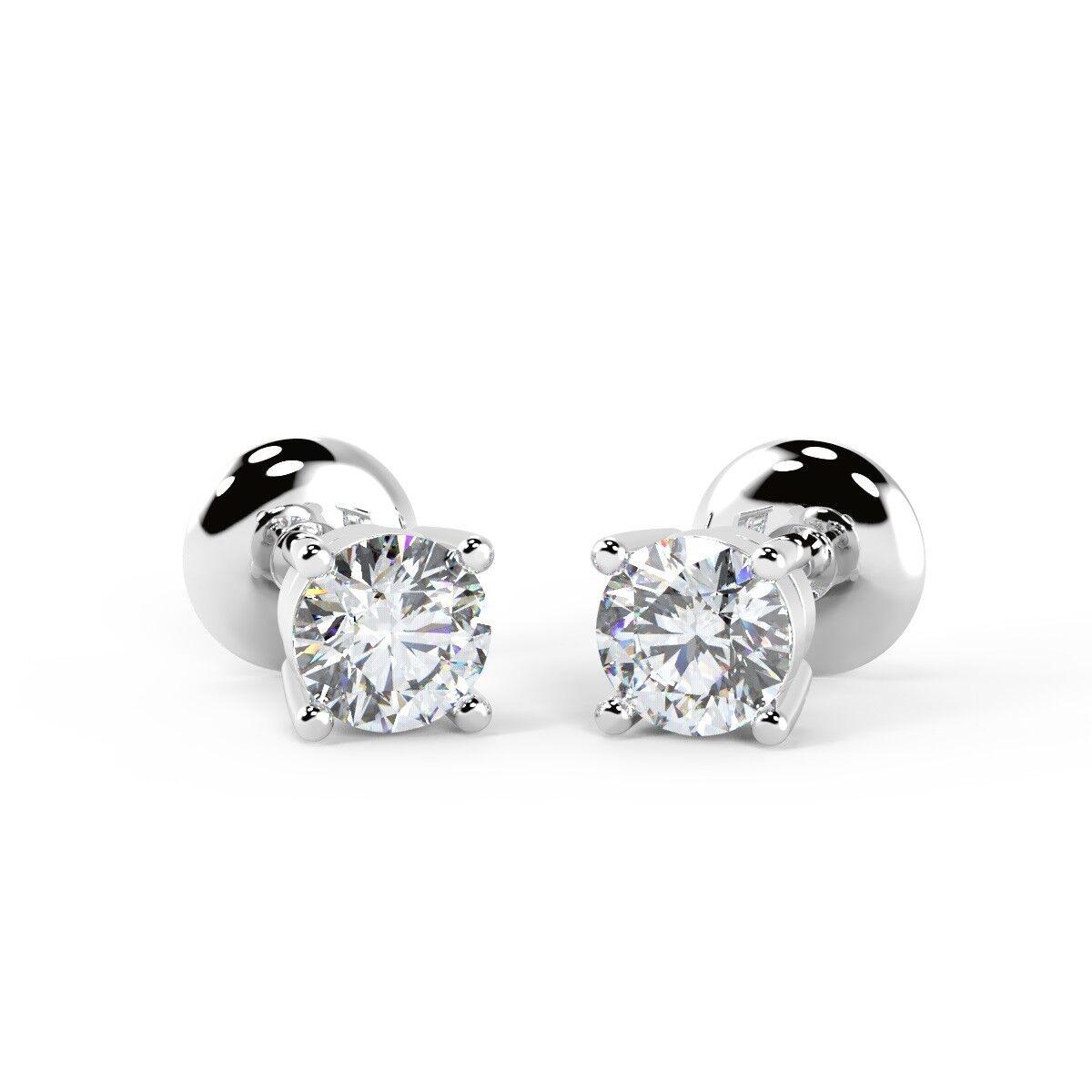 0 25 Ct Round Diamond Stud Earrings Uk Hallmarked White Gold