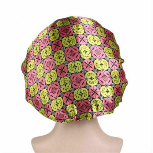Women Satin Bonnet Cap Night Sleep Hair Protect Head Cover Wide Band Bath Hats B