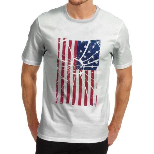 Men/'s Premium Cotton Distressed Stars And Stripes Distort USA Flag T-Shirt