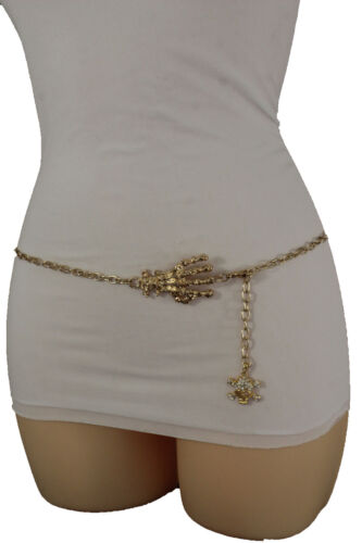 Women Gold Metal Chain Fashion Belt Skull Skeleton Finger Hand Charm Plus M L XL