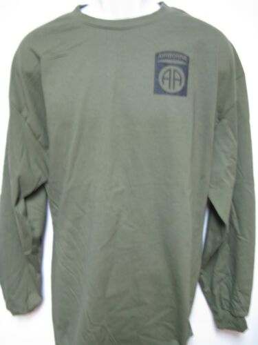 82nd AIRBORNE long sleeve T-SHIRT// FRONT PRINT ONLY MILITARY NEW ARMY