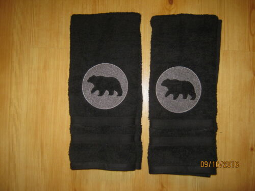 2 New Embossed Hand Towels Brown Towel with MOOSE or Black Towel with BEAR