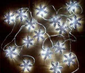 Image is loading Christmas-White-Metal-STRING-Snowflake-Fairy-Lights-16- Christmas White Metal STRING Snowflake Fairy Lights 16 X DEL