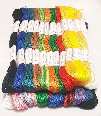 12 Skeins Embroidery Threads For Cross Stitch Braiding And Craft Work Sewing An