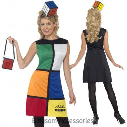 Headband CL191 Ladies Rubik/'s Cube Costume Fancy Dress 80/'s Costume Rubix Cube