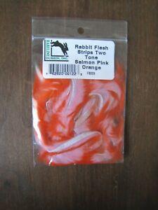 Salmon Pink Orange Fly Tying Hareline Rabbit Flesh Strips Two-Tone