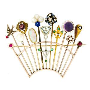 058135b90 Antique Victorian Custom 14k Gold 11 Stick Pin Gemstone Pearl Tiara ...