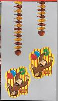 Curious George Monkey Happy Birthday Party Hanging Decorations - In Package