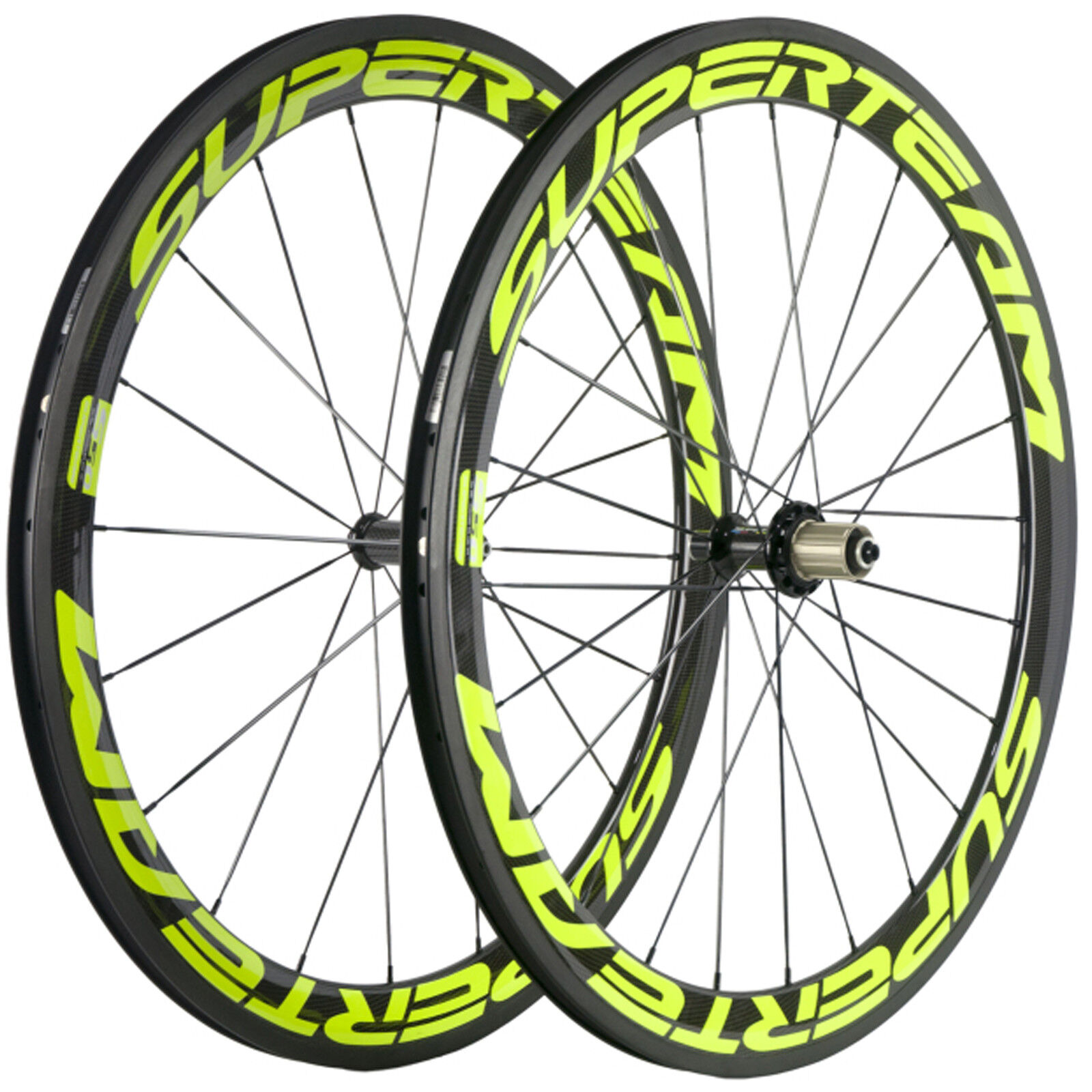 SUPERTEAM Carbon Wheels 50mm Clincher  Bicycle Wheelset R36 Hub Lemon Green color  your satisfaction is our target