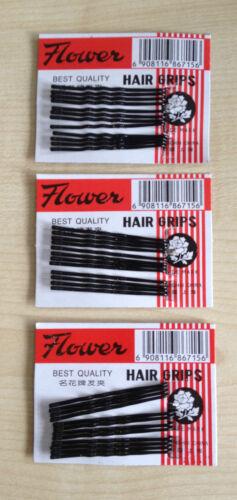 3x12 poignées cheveux noir long 45mm métal agité clips broches poignées diapositives Bob