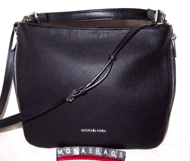 80745406b9db79 Michael Kors Essex Extra Large Black Silver Leather Top Zip Shoulder Bag  NWT$368
