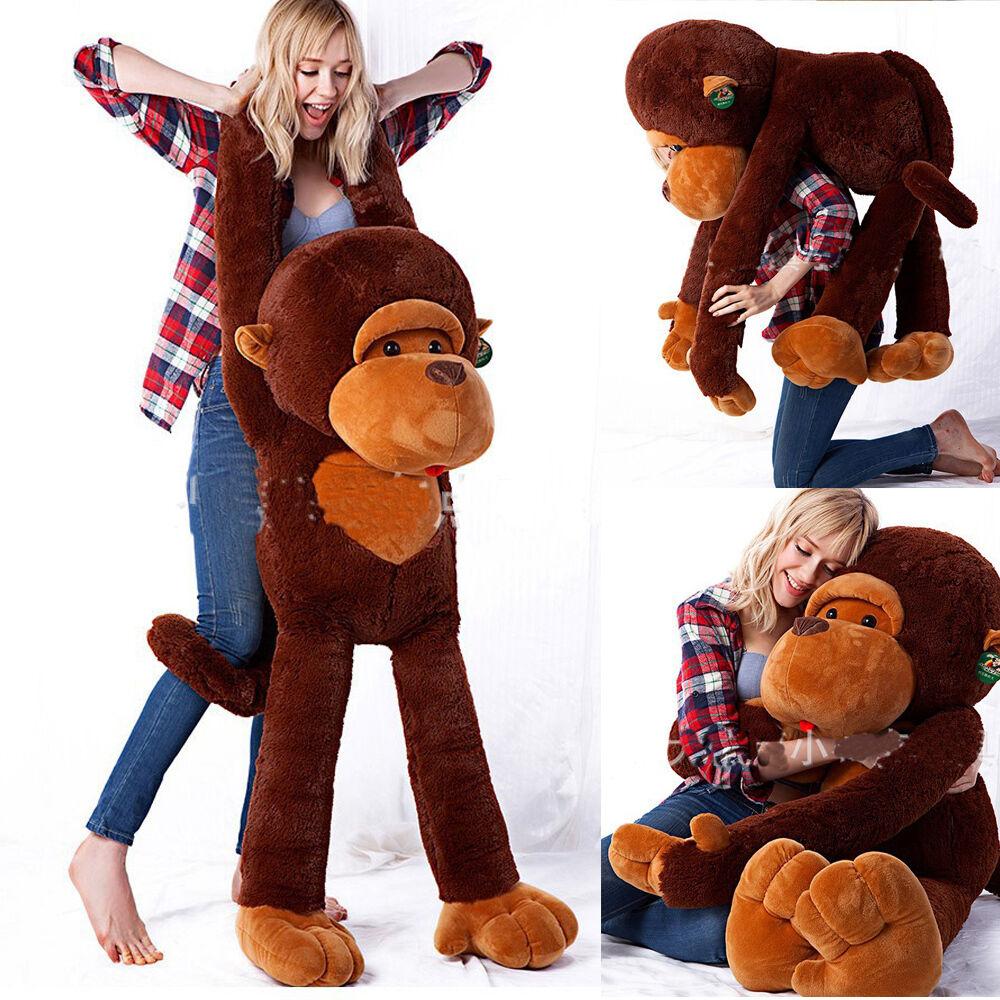 Long Arm Soft Brown Monkey Gorilla Stuffed Animal Plush Doll Toy Xmas gift
