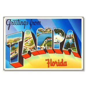 Tampa Florida fl Travel Postcard Metal Sign Wall Decor STEEL not tin 36x24