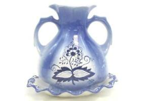 Vintage-Ceramic-Hand-Painted-Handle-Vase-w-Plate-Blue-White-Floral-Portugal