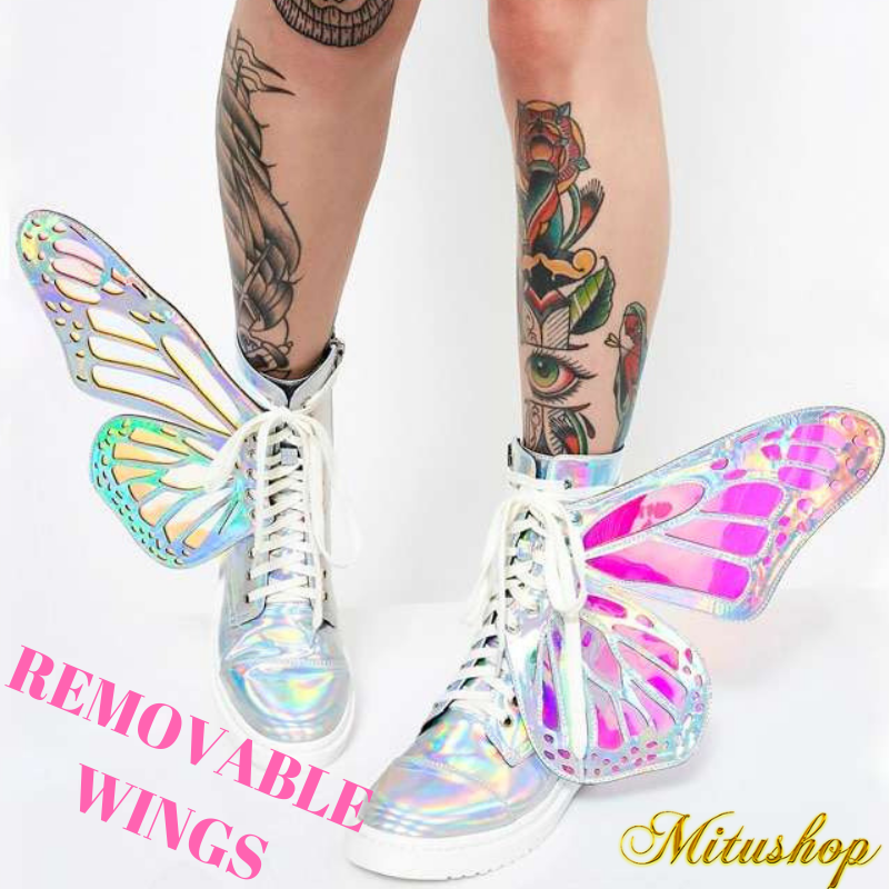 Fashion Shine Shine Shine Silver Short Boots With Butterfly Wings Warm shoes Size For Women 3c75b3