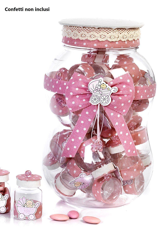 Set Barattolo grande cm 29, rosa con 30 barattolini barattolini barattolini portaconfetti, by Mandorle bdf9db