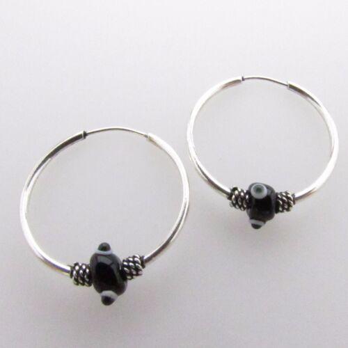 925 Sterling Silver Tiny Hoop Earrings Black Evil Eye Nazar