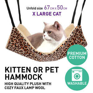 Cat-Hammock-X-LARGE-67cm-X-50cm-Leopard-Fur-Bed-Hanging-Cat-Kitten-Cage-Ferret