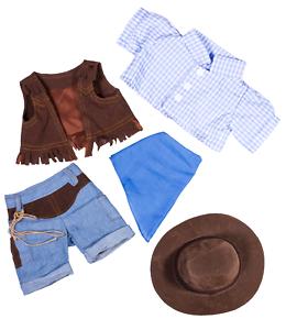 Sensible 20.3cm Bleu Cowboy Vache Ourson & Chapeau Teddy Vêtements Adapté à 20,3cm -25,4