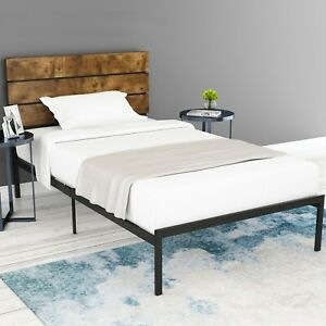 TWIN Size Platform Bed Frame with Metal Slats and Wood ...