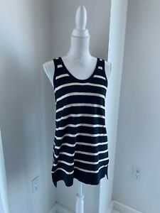Vince-Navy-Blue-amp-Cream-Stripe-Cotton-Sleeveless-Tunic-Long-Tank-SZ-S