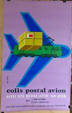 AFFICHE ORIGINALE  LITHOGRAPHIQUE AIR FRANCE /SNCF  par J COLIN  1958