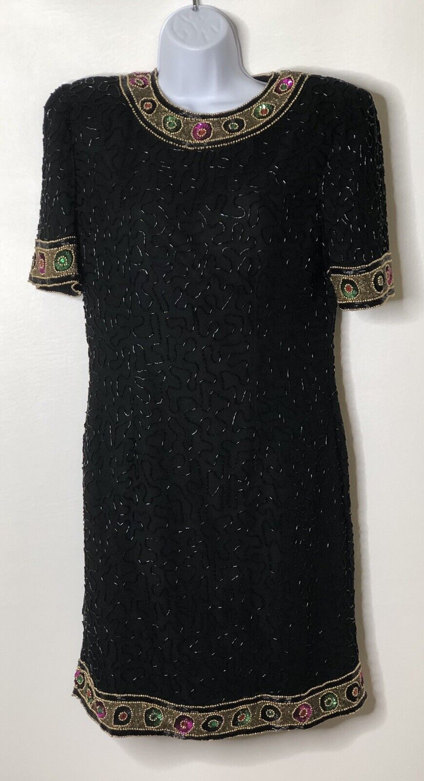 Vtg Laurence Kazar 90s Sequin schwarz Gold Crystal Beaded Dress Silk 80s Sz Lg